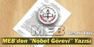 MEB'in Nöbet Görevi İle İlgili Yazısı